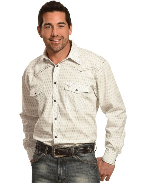 Cowboy Hardware Men's White Dashed Diamond Print Shirt , White, hi-res