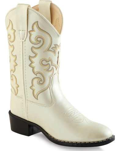 Old West Girls Ivory Western Boots Round Toe Hi Res