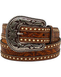 M&F Western Women's Tooled Inlay Belt, , hi-res