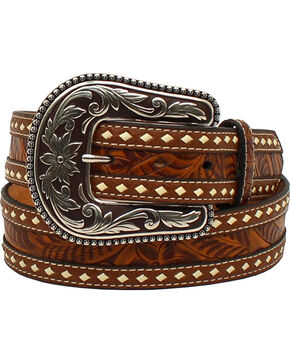 M&F Western Women's Tooled Inlay Belt, Brown, hi-res