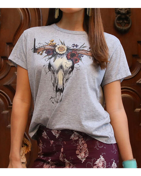 White Crow Women's Floral Skull T-Shirt, Heather Grey, hi-res