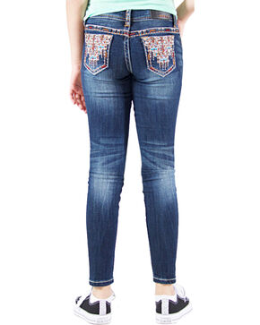 Grace in LA Girls' Embellished Contrast Skinny Jeans , Indigo, hi-res