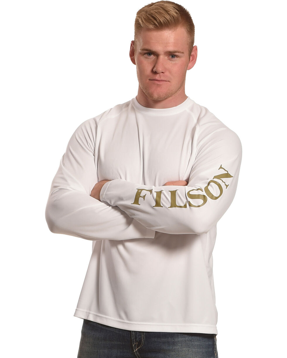 Filson Men's White Long Sleeve Barrier T-Shirt, White, hi-res