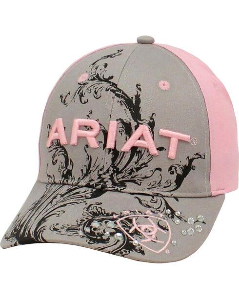 Ariat Women's Scroll and Rhinestones Baseball Cap, Grey, hi-res