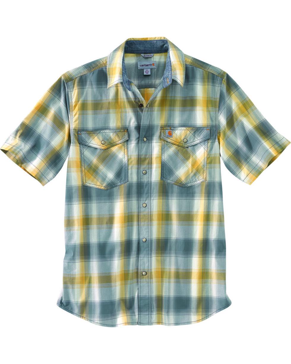 Carhartt Men's Rugged Flex Bozeman Short Sleeve Shirt , Blue, hi-res