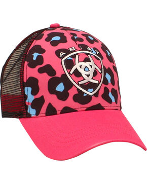 Ariat Women's Leopard Print Trucker Ball Cap, Pink, hi-res