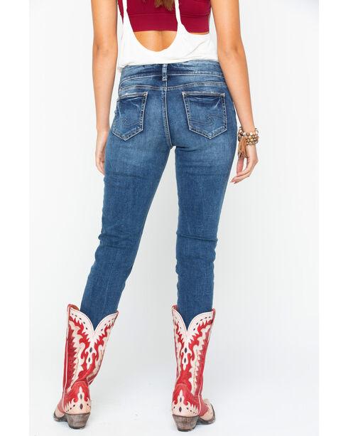 Silver Women's Indigo Elyse Floral Embroidered Jeans - Skinny , Indigo, hi-res
