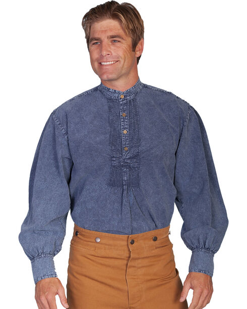 Rangewear by Scully Pleated Front Pullover Western Shirt - Big Sizes (3X - 4X), Dark Blue, hi-res