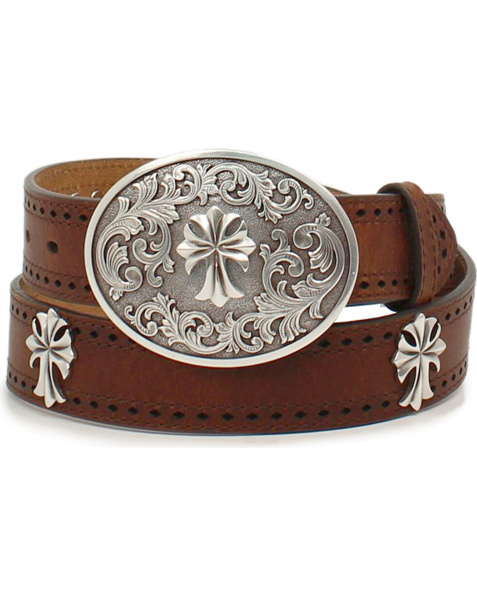 Ariat Women's Perforated Edge Cross Buckle Belt, Tan, hi-res