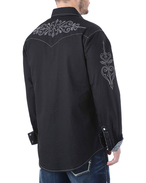 Rock 47 by Wrangler Men's Scroll Embroidered Long Sleeve Shirt, Black, hi-res