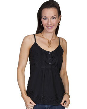 Scully Women's Embroidered Tank Top, Black, hi-res