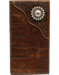 Ariat Men's Rodeo Floral Embossed Concho Wallet, , hi-res