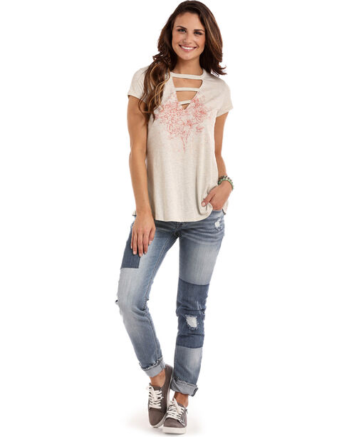 Panhandle Women's A-Line Lattice Neckline Top, Light Grey, hi-res
