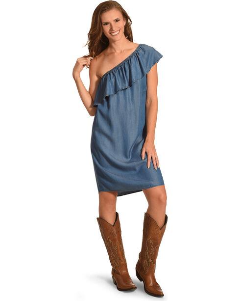 Given Kale Women's Indigo One Shoulder Ruffle Dress , Indigo, hi-res