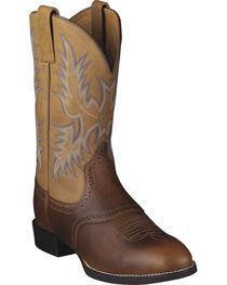 Ariat Barrel Brown Stockman Cowboy Boots - Round Toe, , hi-res