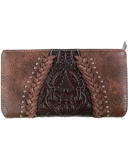 Trinity Ranch Women's Braided Tri-Fold Wallet, Taupe, hi-res