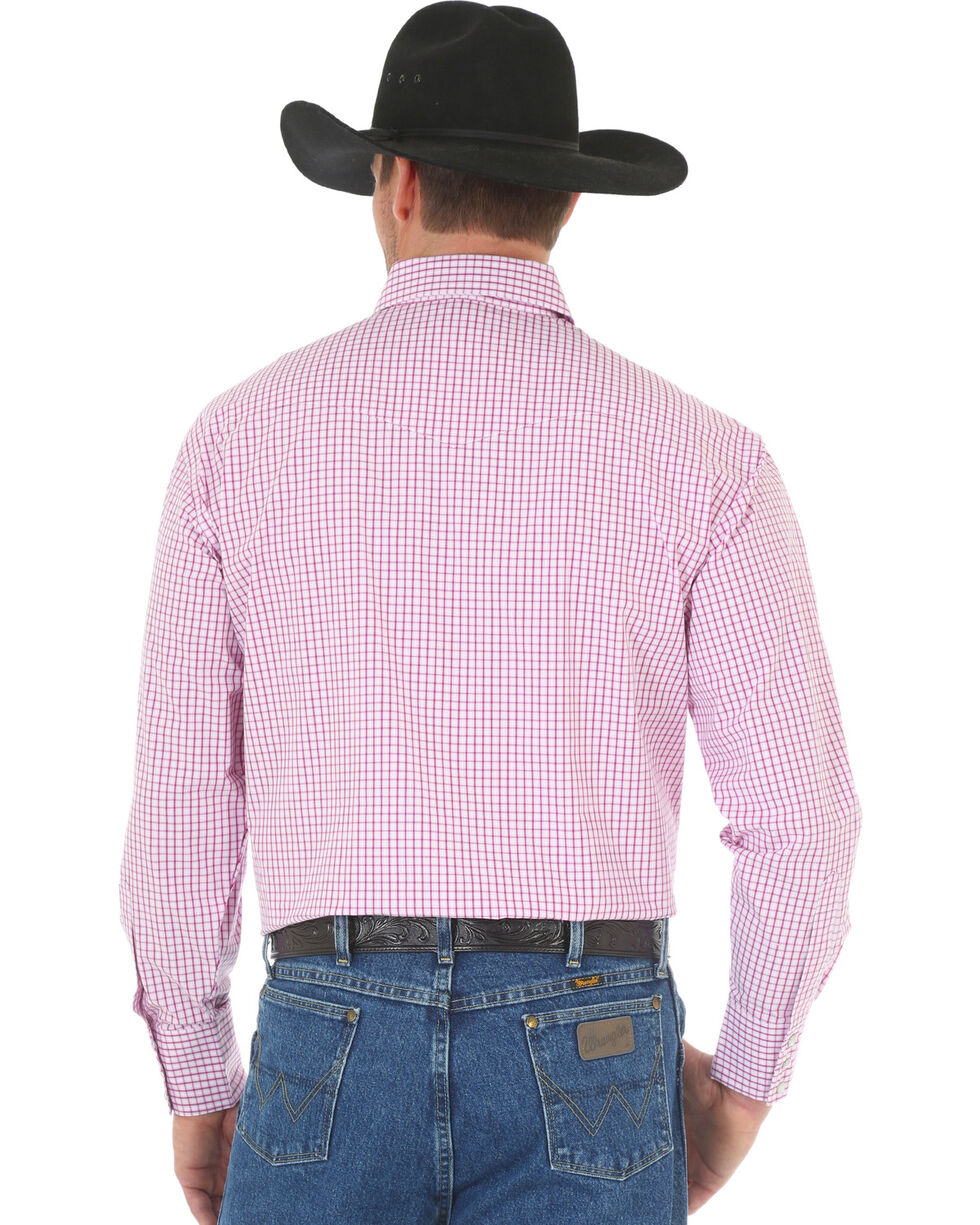 Wrangler George Strait Men's Poplin Plaid Snap Shirt, Magenta, hi-res