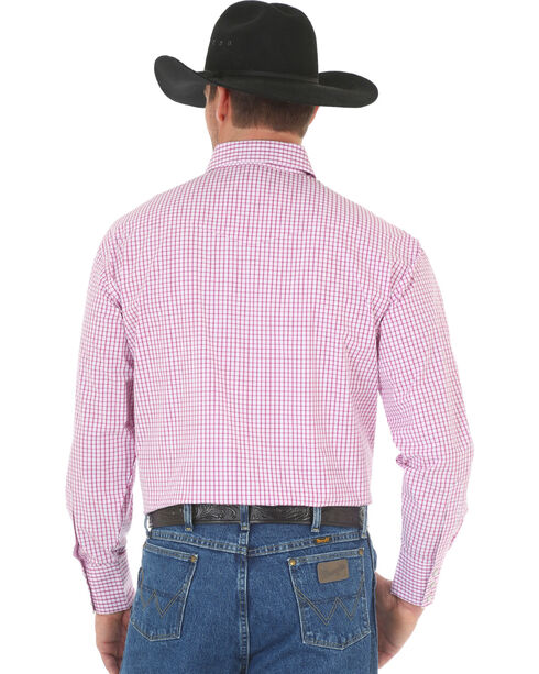 Wrangler George Strait Men's Poplin Plaid Snap Shirt - Big & Tall, Magenta, hi-res