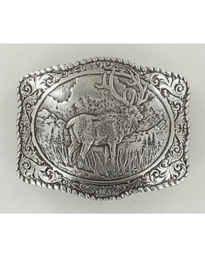 Crumrine Vintage Men's Elk Belt Buckle, Silver, hi-res