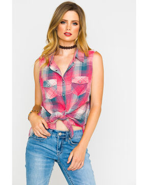 Shyanne Women's Plaid Sleeveless Shirt, Coral, hi-res