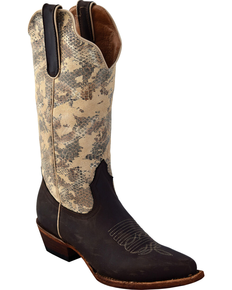 Ferrini Women's Chocolate Sand Storm Cowgirl Boots - Snip Toe, Chocolate, hi-res