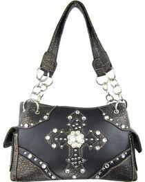 Savana Women's Double Cross Concealed Carry Handbag in Black, , hi-res