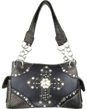 Savana Women's Double Cross Concealed Carry Handbag in Black, Black, hi-res