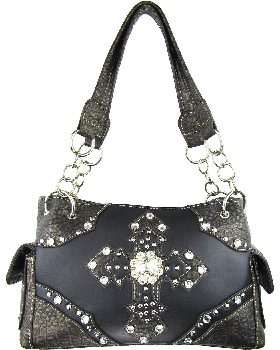 Savana Women's Double Cross Concealed Carry Handbag in Black, Black, hi-res