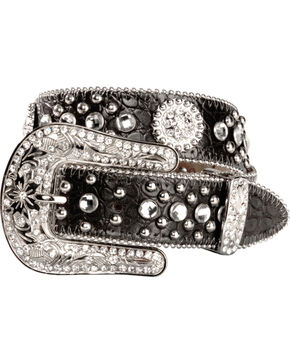 Nocona Girls' Round Rhinestone Concho Belt - 18-28, Black, hi-res