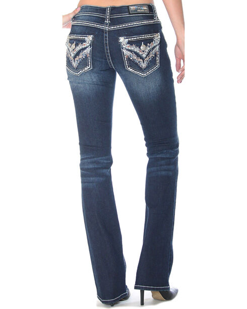 Grace in LA Women's Embellished Flap Pockets Jeans - Boot Cut , Indigo, hi-res