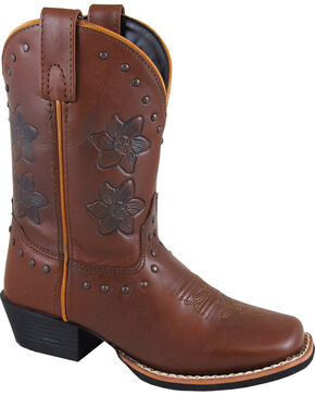 Smoky Mountain Youth Girls' Lilac Western Boots - Square Toe , Brown, hi-res