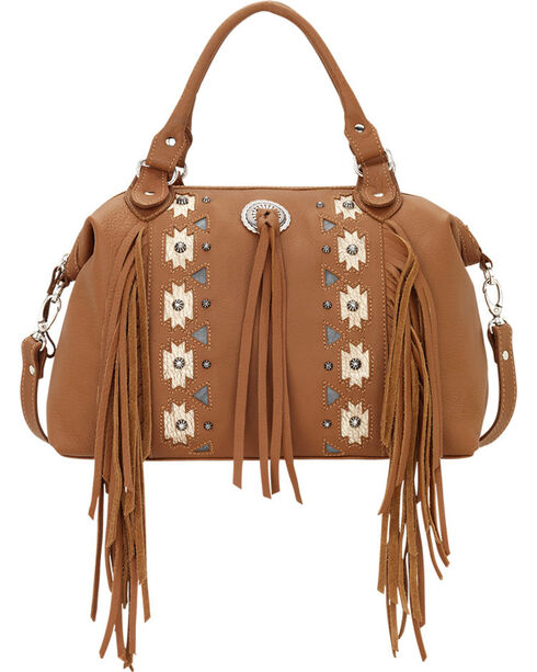 American West Women's Chenoa Large Zip-Top Convertible Satchel, Tan, hi-res