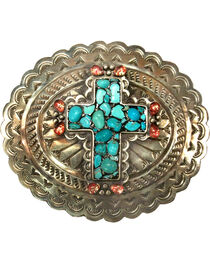 Corral Women's Turquoise Cross Engraved Belt Buckle , , hi-res