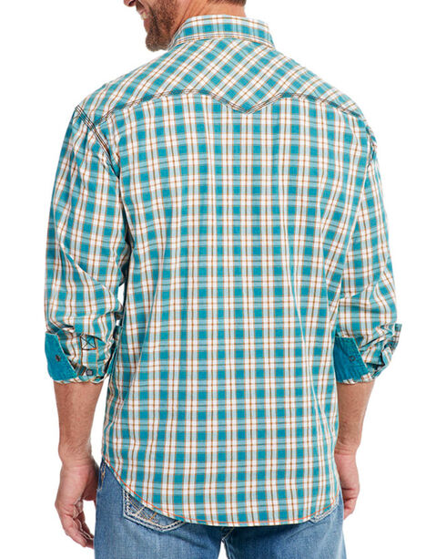 Cowboy Up Men's Plaid Long Sleeve Western Shirt, Teal, hi-res