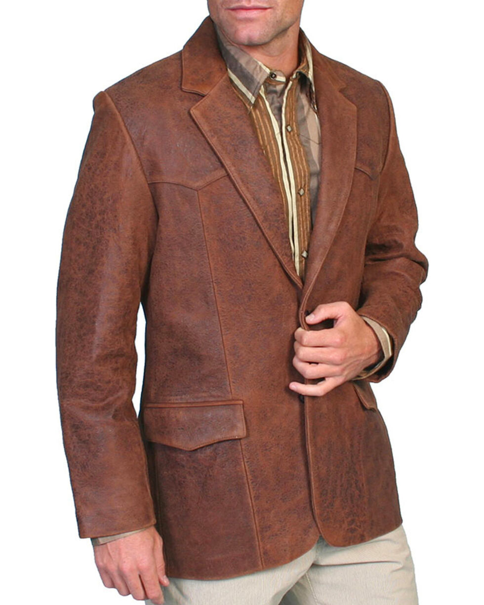 Scully Men's Leather Blazer, Brown, hi-res