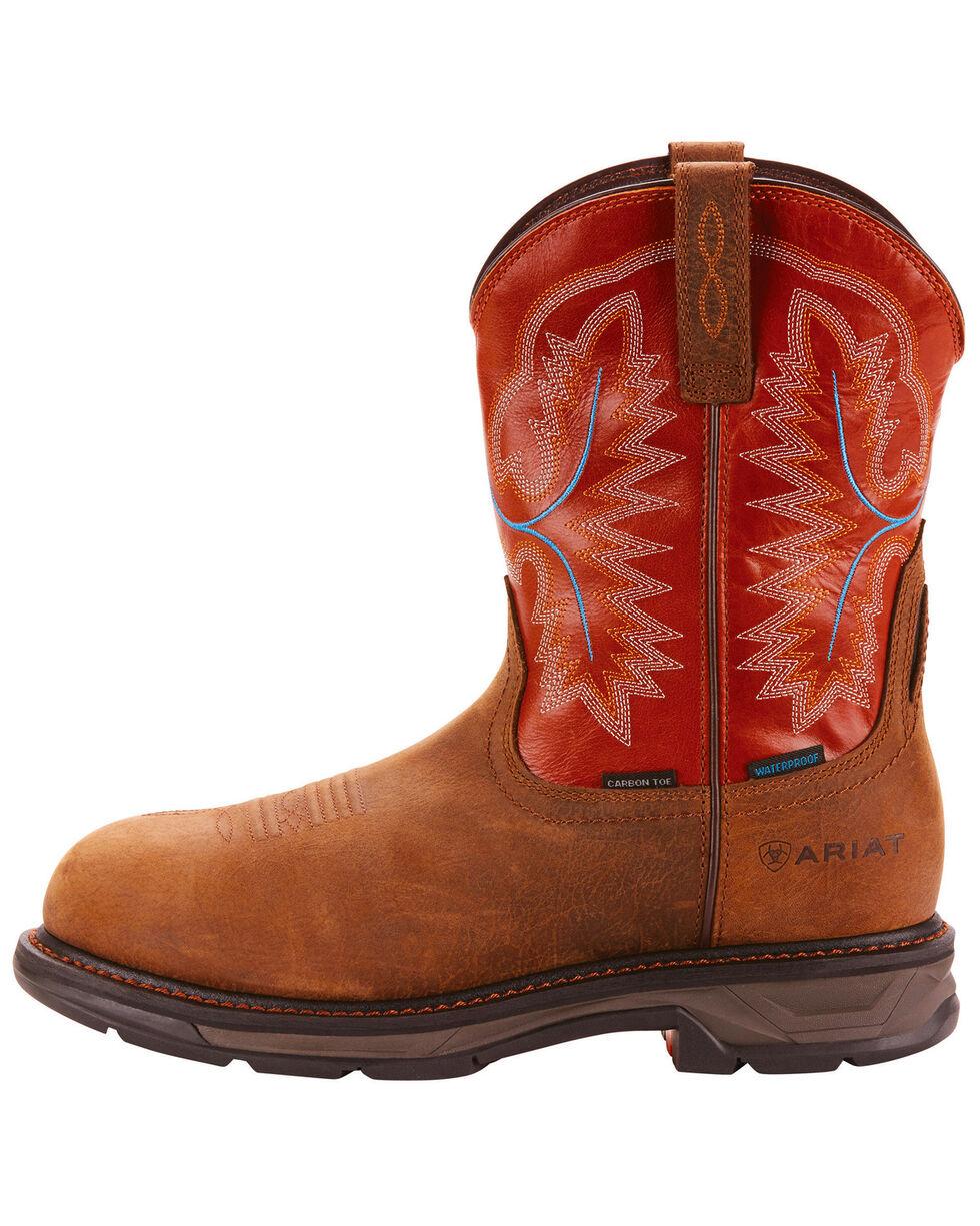 Ariat Men's Tan Waterproof Workhog XT Pull-On Boots - Carbon Toe , Tan, hi-res