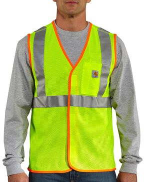 Carhartt Men's High Visibility Class 2 Vest, Lime, hi-res