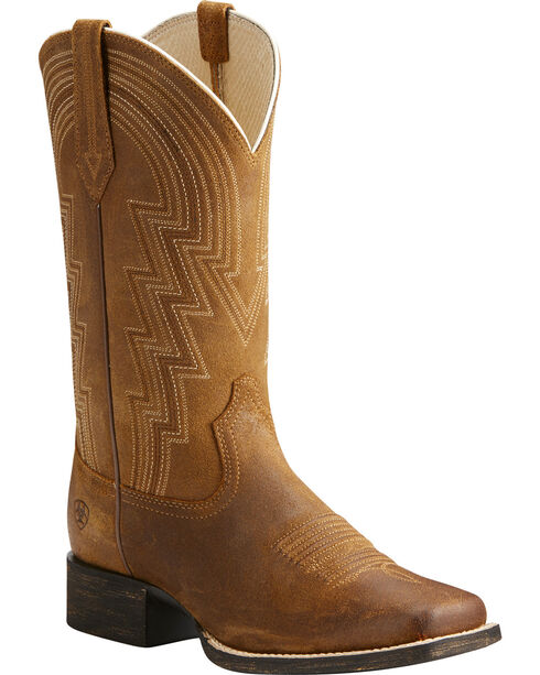 Ariat Women's Tan Round Up Walyon Old West Boots - Square Toe , , hi-res