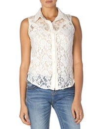 Miss Me Women's Sleeveless Lace Western Shirt, Off White, hi-res