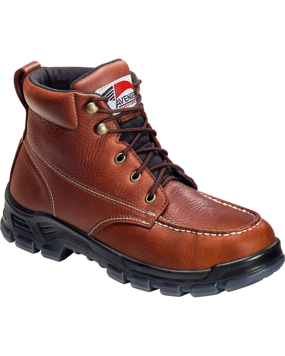 Avenger Men's Brown Waterproof Moc Toe Work Boots - Steel Toe, Brown, hi-res