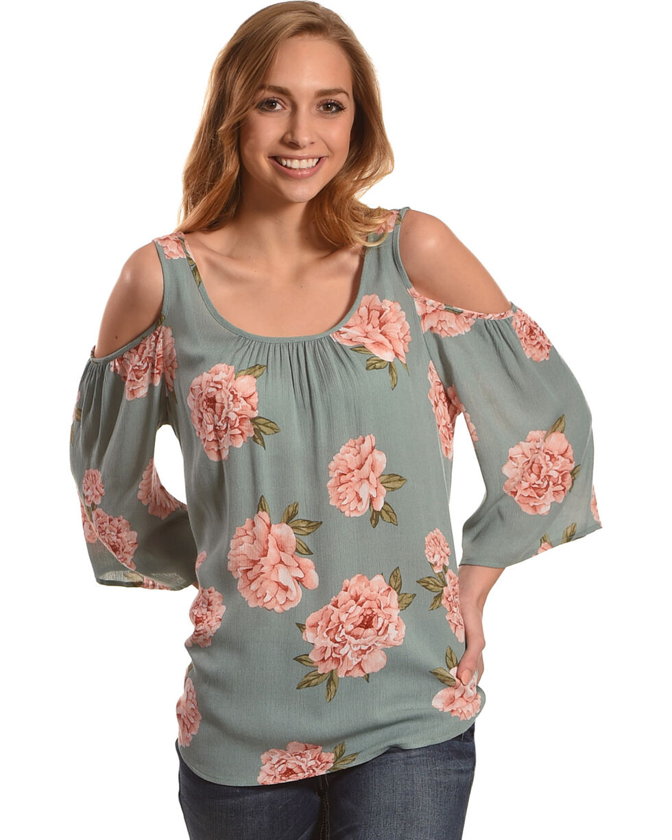 Ivory Love Women's Sage Floral Printed Cold Shoulder Top, Sage, hi-res