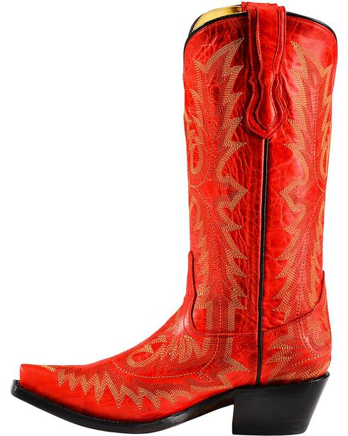 Corral Women's Picasso Snip Toe Western Boots, Red, hi-res