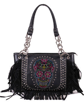 Savana Women's Sugar Skull Fringe Trimmed Handbag , Black, hi-res