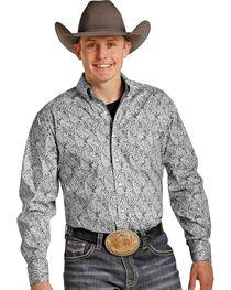 Tuf Cooper Men's Grey Paisley Western Shirt , , hi-res