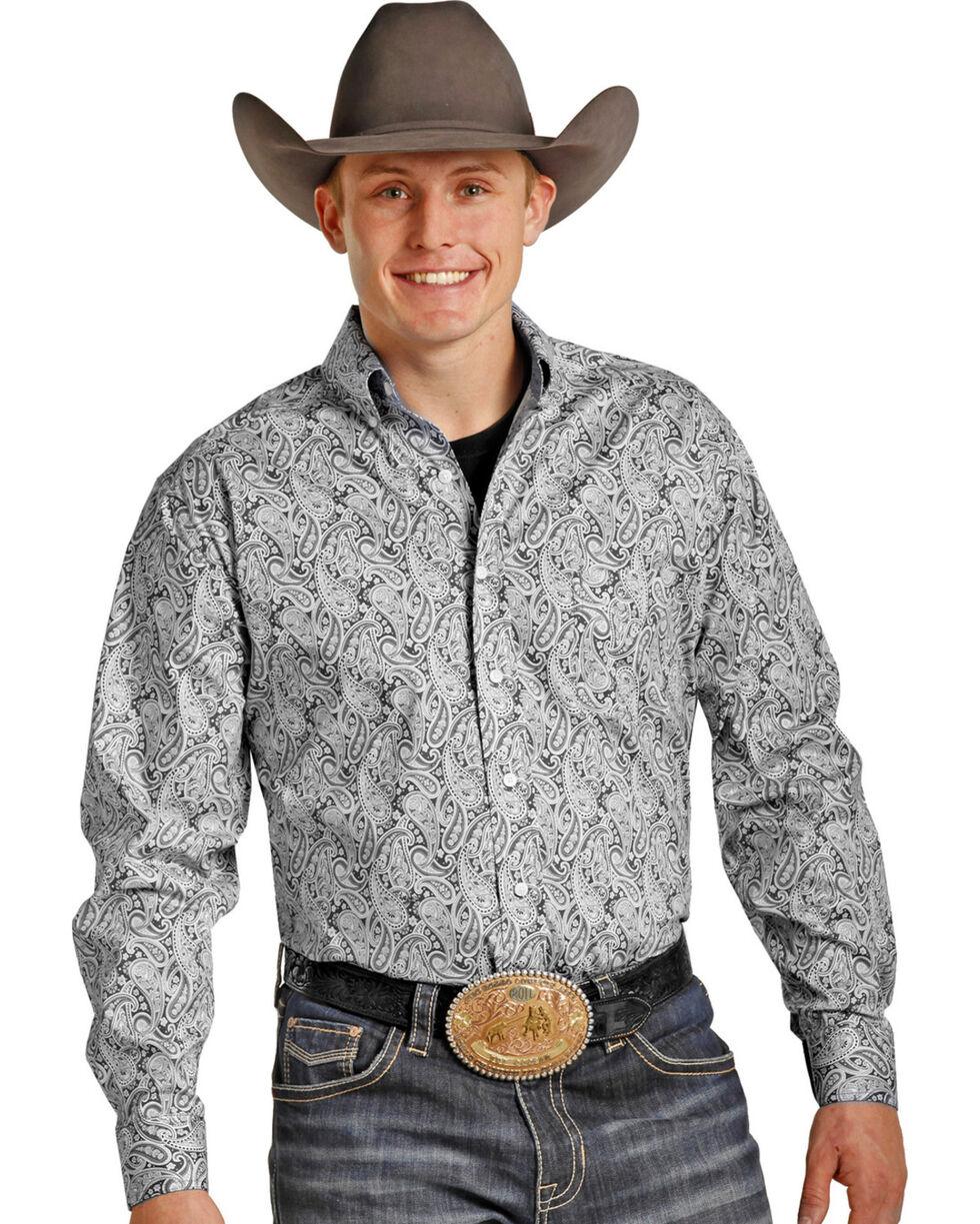 Tuf Cooper Performance Men's Grey Paisley Western Shirt , Grey, hi-res