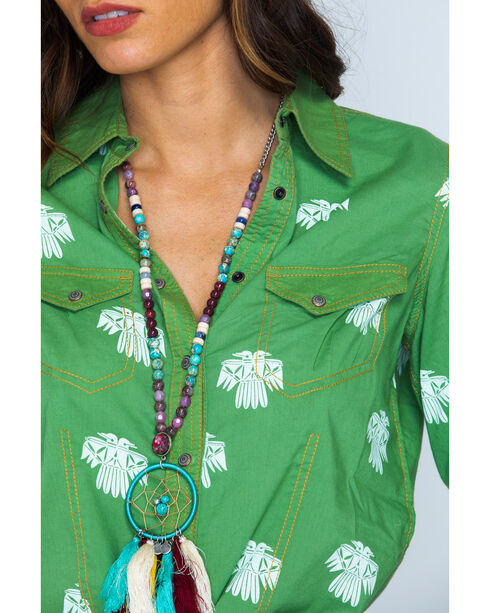 Ryan Michael Women's Fern Bird Print Snap Shirt, Fern, hi-res