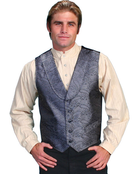 Rangewear by Scully Paisley Print Round Collar Vest - Big & Tall, Grey, hi-res