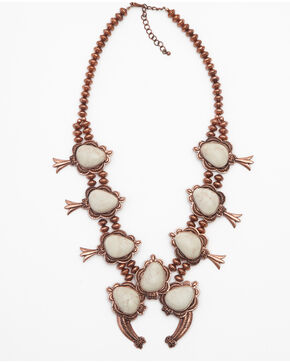 Shyanne Women's Copper and Bone Squash Blossom Necklace, Rust Copper, hi-res