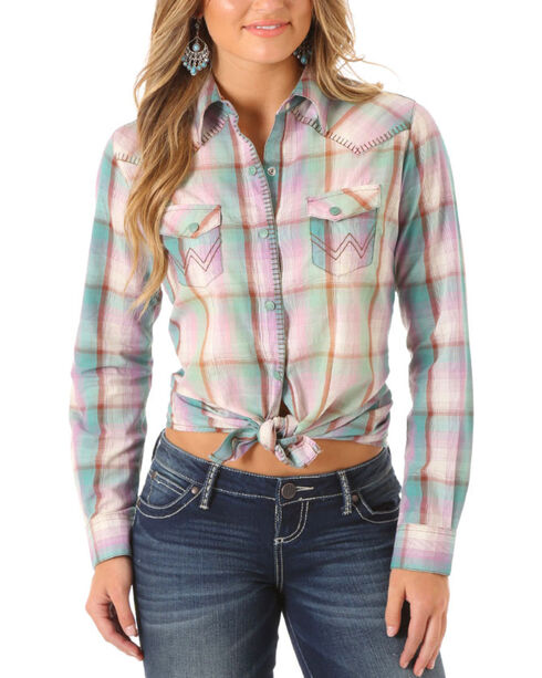 Wrangler Women's Blanket Stitch Plaid Long Sleeve Shirt, Light Green, hi-res