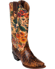 Ferrini Vintage Gator Belly Print Cowgirl Boots - Snip Toe, , hi-res